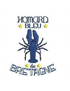 motif de broderie machine homard bleu de Bretagne