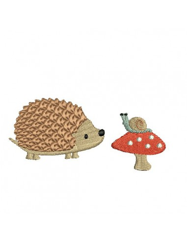 Instant download machine embroidery hedgehog with his backpack