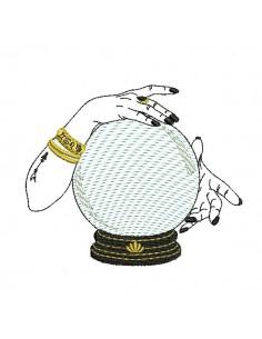 Motif de broderie machine boule de cristal