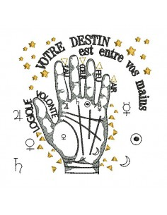 instant download machine embroidery design hand destiny lines