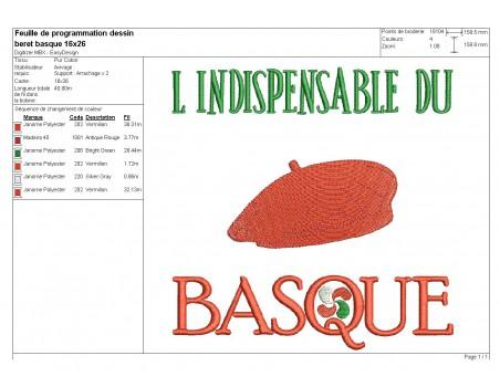 Motif de broderie machine Beret basque l'indispensable