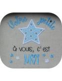 Motif de broderie  machine texte votre petite étoile