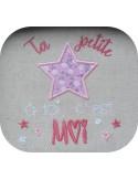 Motif de broderie  machine texte ta petite étoile