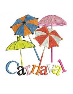 Motif de broderie machine parapluies carnaval de Dunkerque
