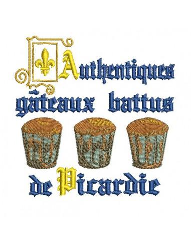 Motif de broderie machine gâteau  battu de Picardie