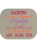 Motif de broderie  surprise mamie version grande soeur