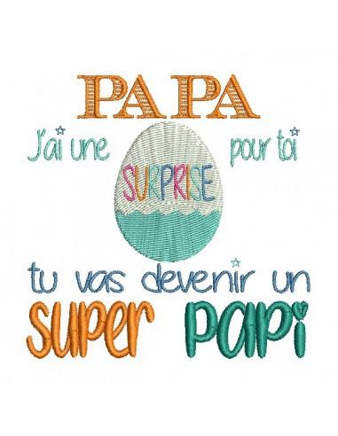 Motif de broderie  papa super papi