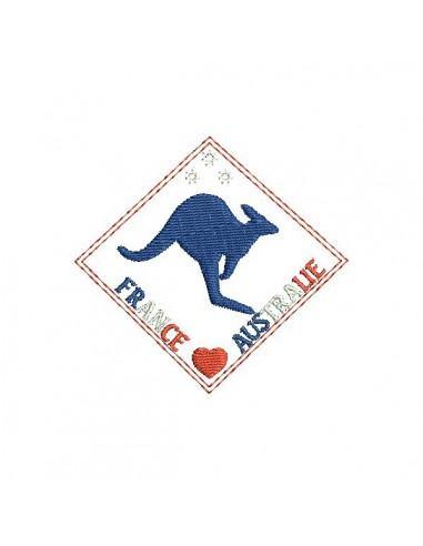 Motif de broderie machine logo kangourou