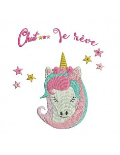 Instant download embroidery design  machine scalloped napkin ring Unicorn ITH
