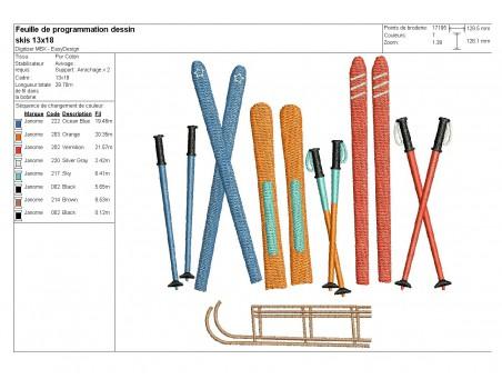 Motif de broderie machine skis