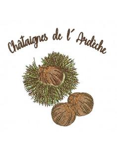 Motif de broderie machine châtaignes de l' Ardèche