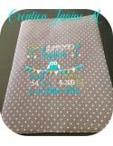Instant download machine embroidery design Newspaper Birth Announcement girl