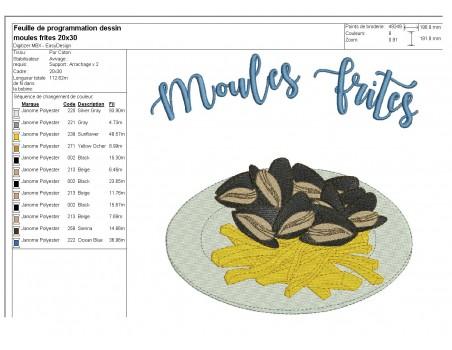 Motif de broderie machine les moules frites