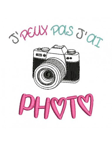 Motif de broderie machine texte j'peux pas j'ai  photo