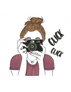 Instant download  machine embroidery design girl taking a photo