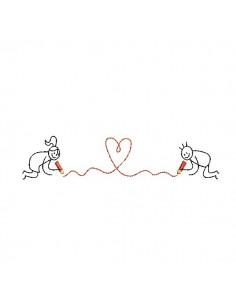 Motif de broderie machine amoureux au coeur