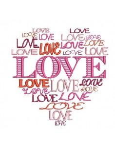Motif de broderie machine coeur love