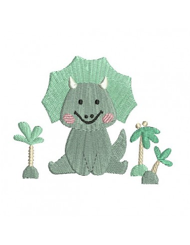 Instant download machine embroidery design triceratops dinosaur