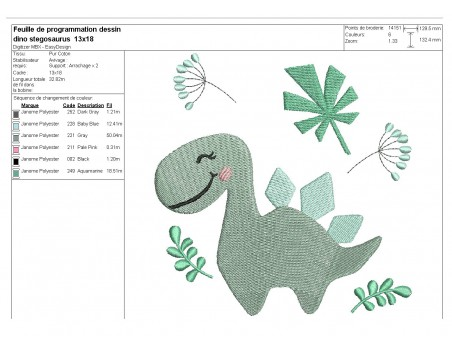 Motif de broderie machine dinosaure stégosaure