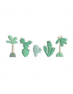 Motif de broderie machine frise palmiers cactus
