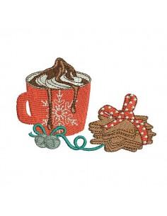 Motif de broderie machine chocolat chaud avec des  gâteaux sablés