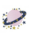 Instant download machine embroidery crowned star mylar