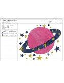 Instant download machine embroidery starry planet mylar