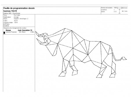 Instant download machine embroidery design geometric rhinoceros