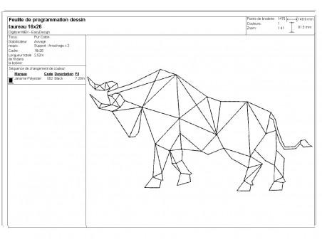 Motif de broderie machine taureau origami