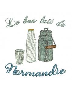Motif de broderie machine lait de Normandie
