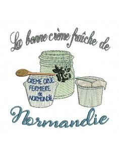 Motif de broderie machine crème fraîche de Normandie