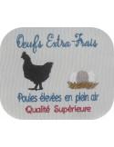 Motif de broderie machine  poule et  oeufs extra-frais