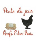 Instant download machine embroidery  design extra-fresh eggs with a hen