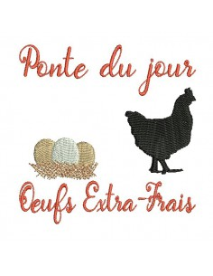 Instant download machine embroidery  design  hen and extra-fresh eggs