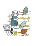 Instant download machine embroidery  design girl and her hens