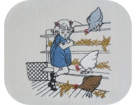 Motif de broderie machine fillette  ramassant des oeufs