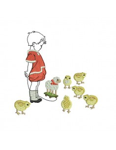 Motif de broderie machine enfant avec des poussins