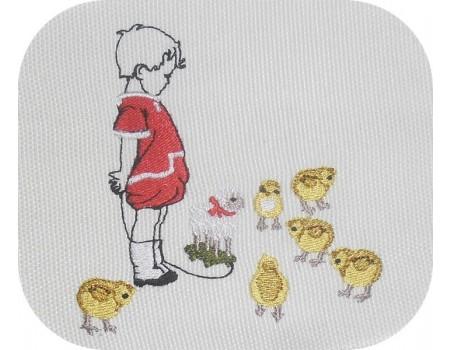 Instant download machine embroidery  design girl collecting chicken eggs