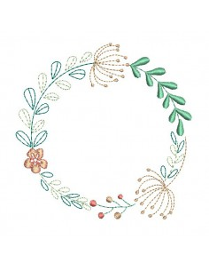 Instant download machine  embroidery design coral  frame