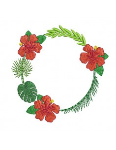 Instant download machine embroidery design hibiscus flower frame