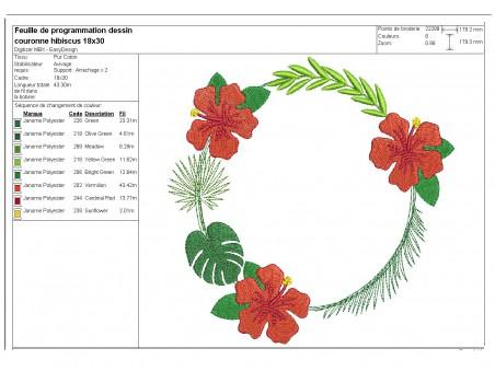 Motif de broderie machine cadre fleur d'hibiscus