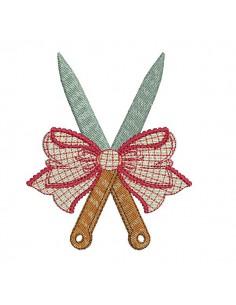 Motif de broderie machine  couteaux  avec un noeud