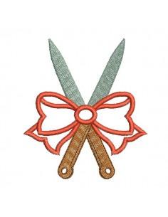 Motif de broderie machine  couteaux avec un noeud appliqué