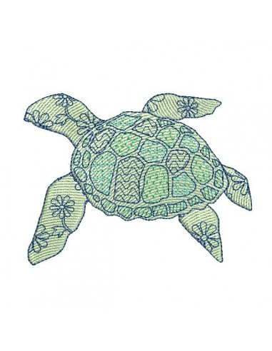 Instant download machine embroidery sea turtle