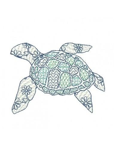 Instant download machine embroidery design  sea turtle