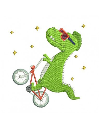 Motif de broderie machine dinosaure à vélo