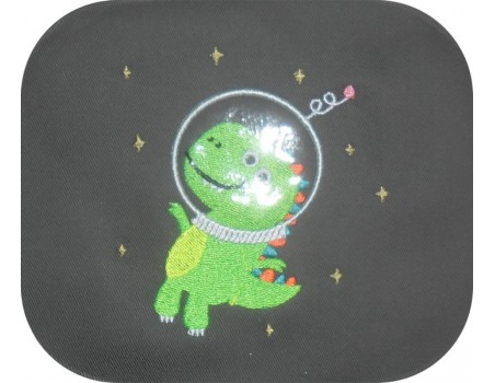 Motif de broderie machine dinosaure cosmonaute