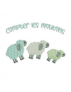 Motif de broderie machine compter les moutons