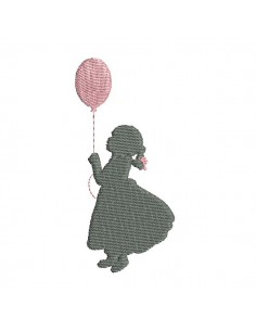 Instant download machine embroidery silhouette little girl with a balloon