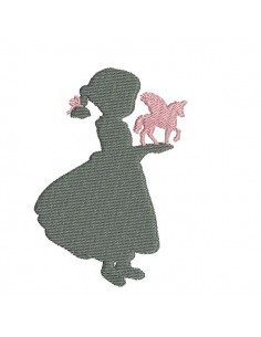 Instant download machine embroidery silhouette little girl with a unicorn